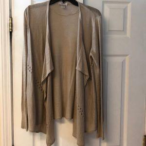 LOFT draped beige cardigan  NWOT